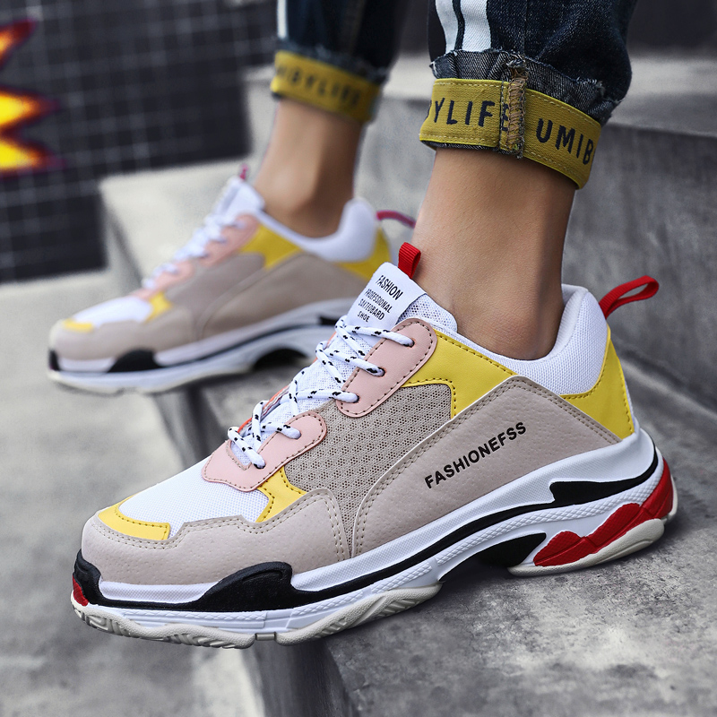 2019 New Men sneaker yellow purple blue shoes Thick Bottom Platform Panda Triple S male light super running masculino size 39-44 remote control charging helicopter