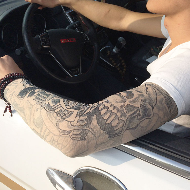 Unisex New 500pcs Adjustable Tattoo Elastic UV Sun Protection Fake Arm Tattoo Sleeve Outdoor Cuff Seamless Body Tattoo Stocking
