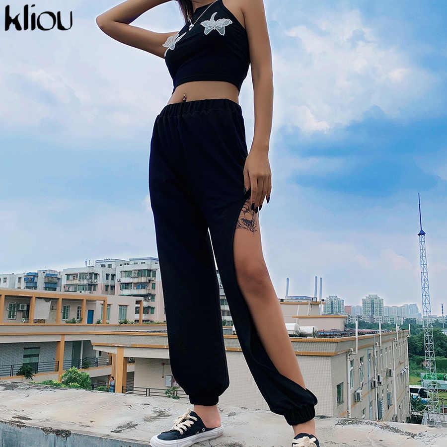 Kliou yüksek bel bölünmüş hollow out seksi kargo pantolon 2019 yaz sonbahar kadın moda delik siyah katı pantolon kulübü streetwear