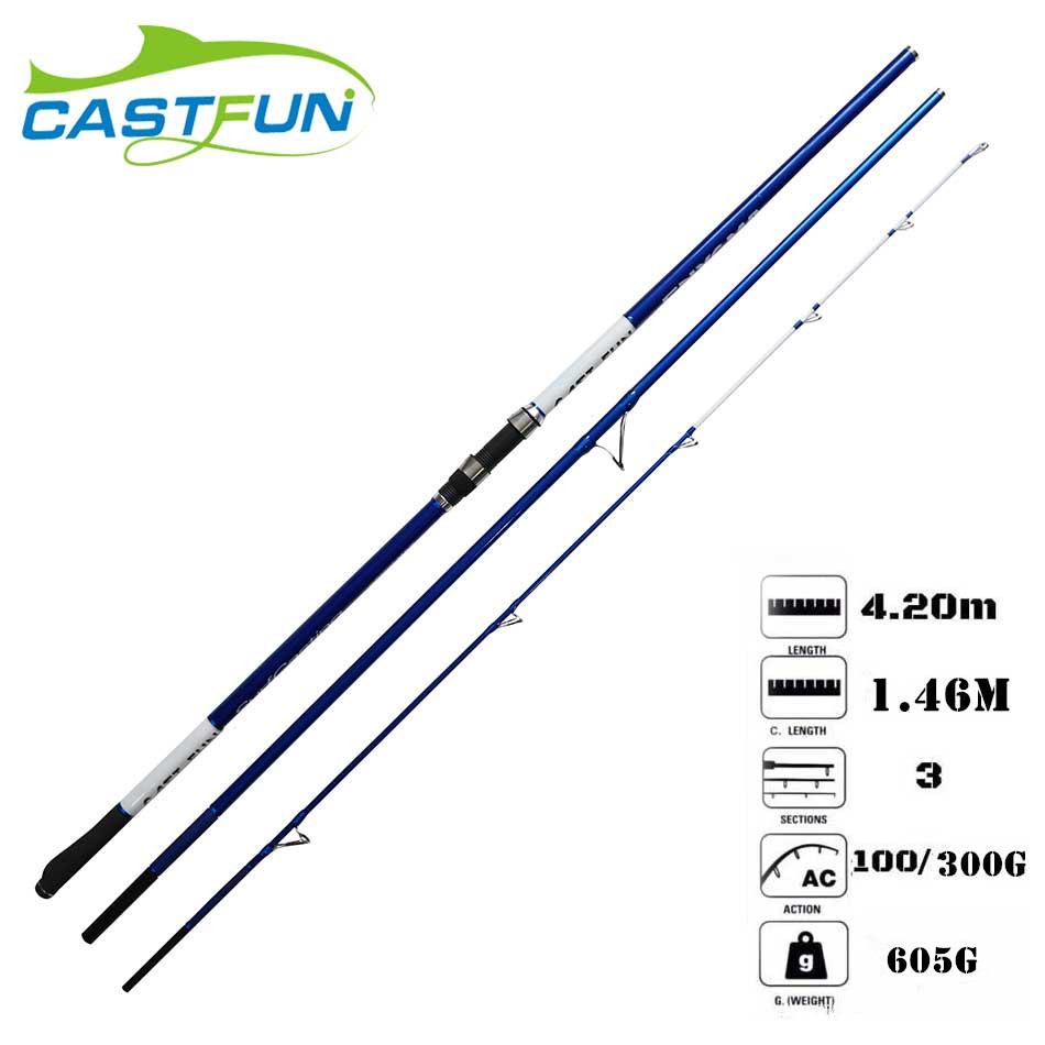 Castfun High Quality 3 Section 4.2m 100g-300g Canne a Peche Surf Rod Carbon Surf Casting Rod кольцо из серебра valtera 68953