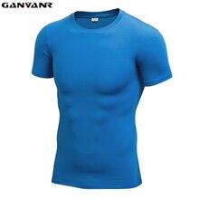 GANYANR Brand Compression T Shirt Short Sleeve Man Training Tights Running Tee Sports Undershirt Fitness Dry Fit Bodybuilding