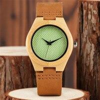 ירוק במבוק טרי יצירתי שעון יד חיוג פשוט רשת לבנה רצועת עור אמיתי בסגנון עץ הטבע קוורץ שעונים מתנה תיק