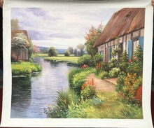Free shipping High Quality Handpainted Realism landscape oil painting House by River picture on canvas