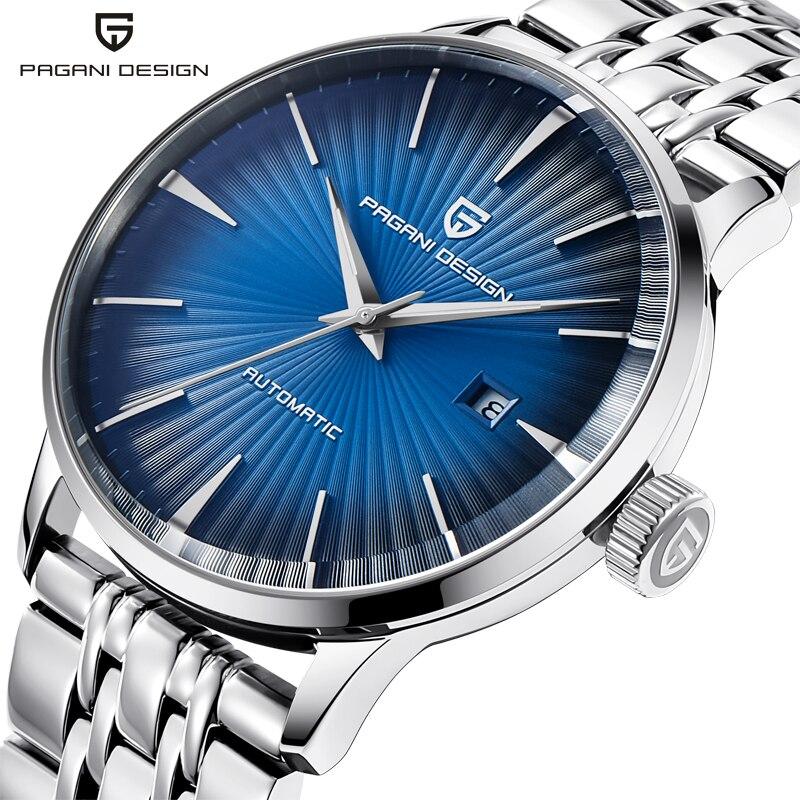 PAGANI PROJETO Homens Relógio Automático Azul Relógios Em Aço Inoxidável relógio Mecânico Auto Data Relógios de Pulso Masculino Relogio masculino 3ATM