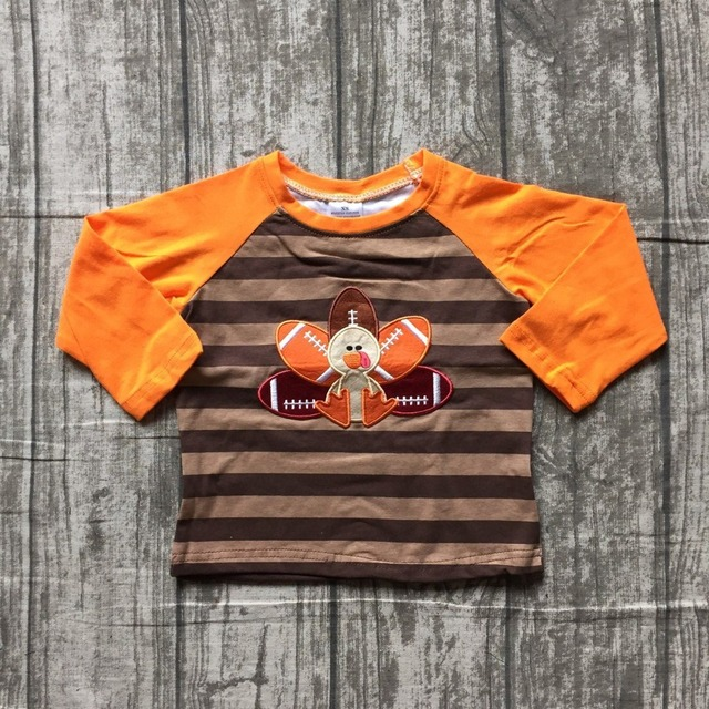1fbcdc16fc645 baby boys Fall boutique top t-shirts children clothes orange stripe long  sleeve cotton raglans turkey brown thanksgiving day