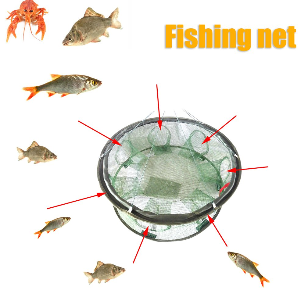 Portable Folded Fishing Net Crawfish Mesh Fish Basket Casting Shrimp Cage Multifunctional Minnow Lobster Crab Fish Trap Cages
