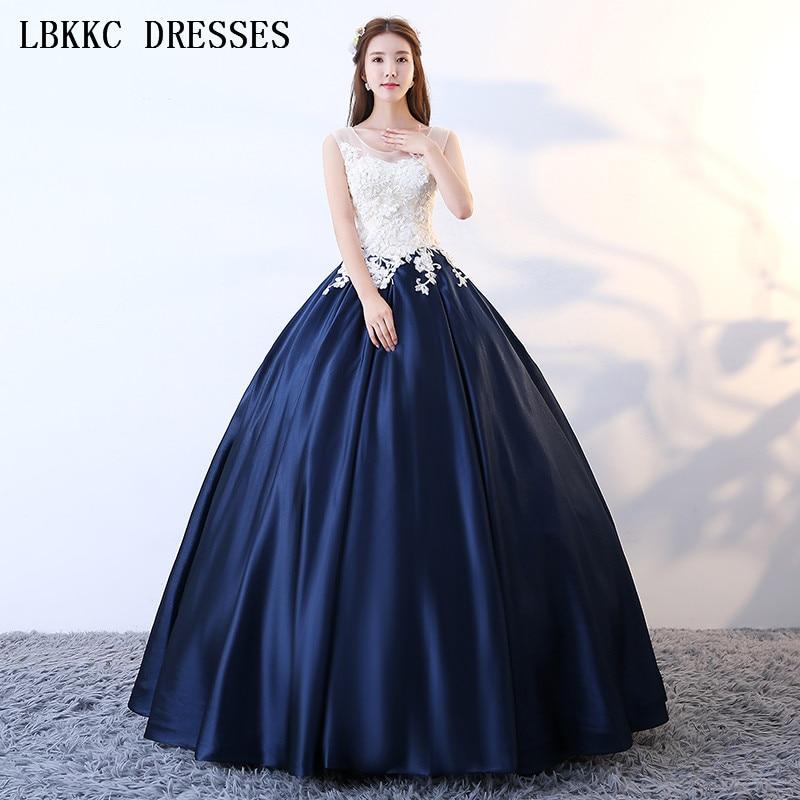 Белый Темно синие Пышное Бальное Платье без рукавов Совок сладкий 16 платья Vestidos De 15 Anos Quinceanera бальное платье