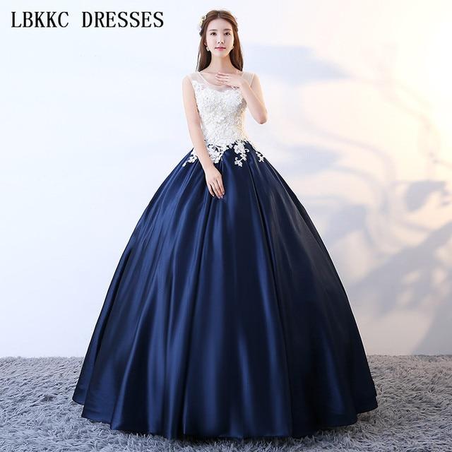 f81b45c915 White Navy Blue Quinceanera Dresses Ball Gown Sleeveless Scoop Sweet 16  Dresses Long Vestidos De 15 Anos Quinceanera Ball Dress