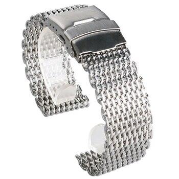 18 มม. 20 มม. 22 มม. 24 มม. สแตนเลสตาข่ายนาฬิกาข้อมือนาฬิกาแฟชั่นเงินนาฬิกาข้อมือนาฬิกาคุณภาพสูง