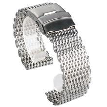 Bracelet en maille d'acier inoxydable de luxe, 18mm 20mm 22mm 24mm, mode bracelet de montre montres en argent, bracelet de rechange bonne qualité