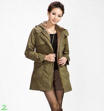 Women berber fleece clothes wadded jacket winter military jacket outerwear with a hood hooded Detachable lining SM/L/XL/XXL/XXXL
