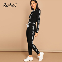 ROMWE Letter Print Crop Tee And Pants Set Nice Black Drawstring Skinny Hooded Set Women Long Sleeve Workout Two Piece