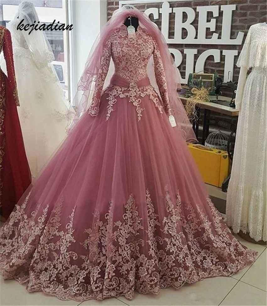 robe de mariee 2020 rosa türkisch islamische hochzeit