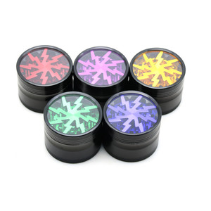 """1PC Lightning Style 63mm 2.5"""" 4 Pieces Herb Grinder 5 Colors Smoke Cigarette Machine Hand Crusher Pollen Spice Tobacco Grinder"""