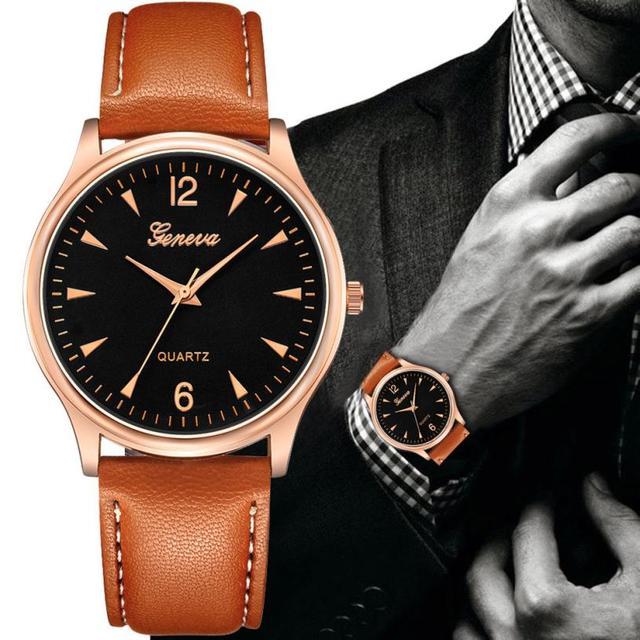 5e28f85a69b Momento   L05 2018 Genebra Moda relógio de Luxo Dos Homens De Couro Falso  relógios Blue