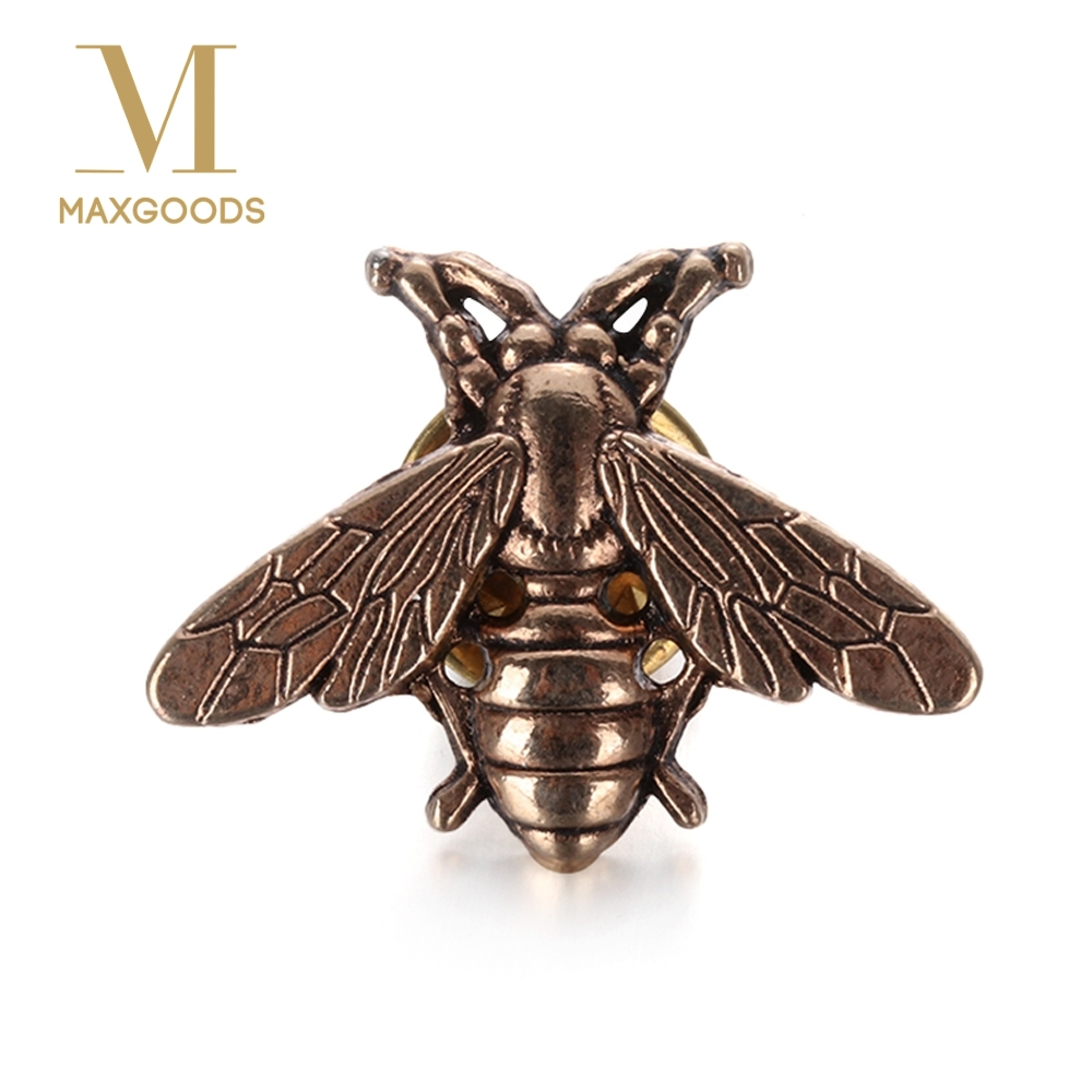 1/2Pcs Vintage Cute Bees Brooch Pins Gold & Silver Insect Brooches For Men Women Deer Antlers Head Pin Fashion Jewelry