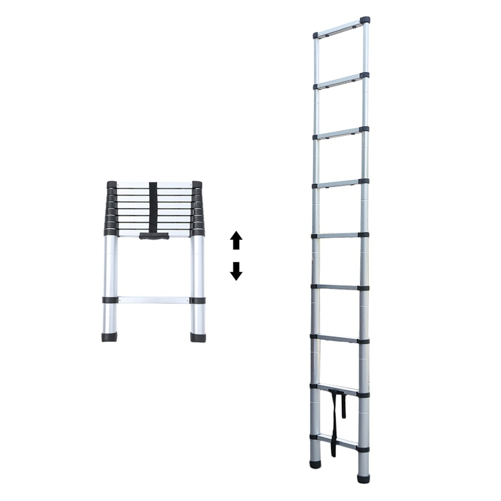 8.5FT-14.5FT Excellent Quality Folding Climb Aluminum Telescopic Step Ladder Multi Purpose Non Slip Step Ladder 2017 new multi purpose folding aluminum ladder household airfoil ladder or clothes hanger loading 150kg