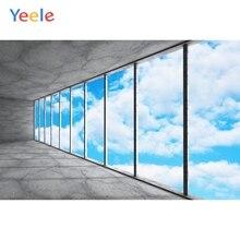 Yeele mavi gökyüzü beyaz bulutlar pencere çerçevesi iç fotoğrafçılık arka plan özelleştirilmiş fotoğraf fotoğraf stüdyosu için arka planında