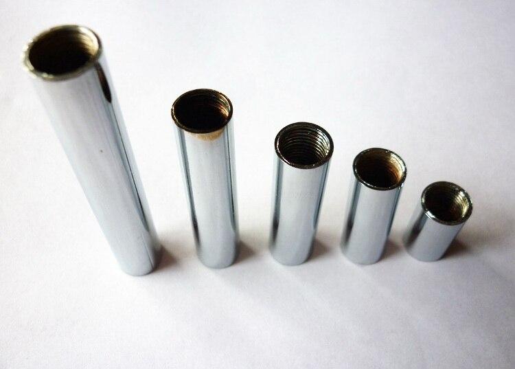 M10 Female Metal Thread Tube Chrome Screw Pipe For Lighting  Both Ends  Inner Thread