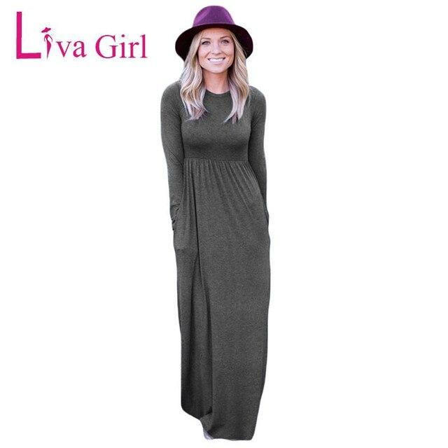 82fabb4ad2e Liva Fille décontracté Slip Maxi Jersey Robe Taille Haute À Manches Longues  Automne Hiver Femmes Nouveau