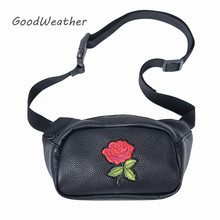 Fashion bag belt women soft PU leather waist bag with embroidery rose hip belt bags designer black waist pouch bags for woman