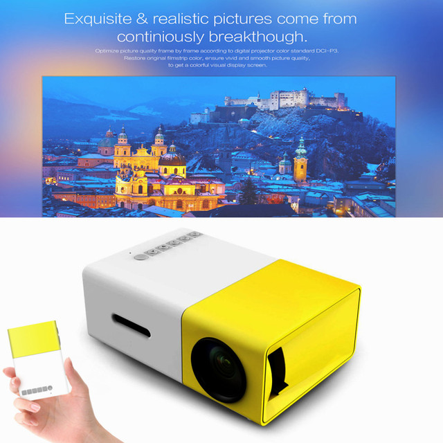 Mais novo 600LM YG300 Projetor LCD Home Media Player MINI Projector para Jogos de Vídeo TV Suporte Filme HDMI Home Theater AV SD