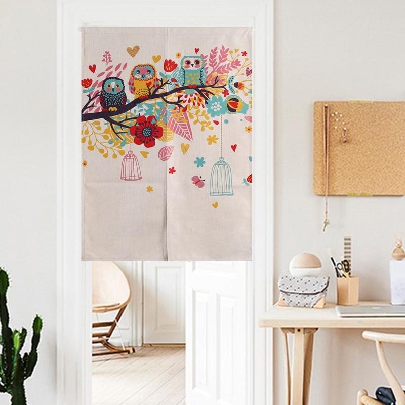 Nordic Owl Family Colorful Cute Cartoon Door Curtain Linen