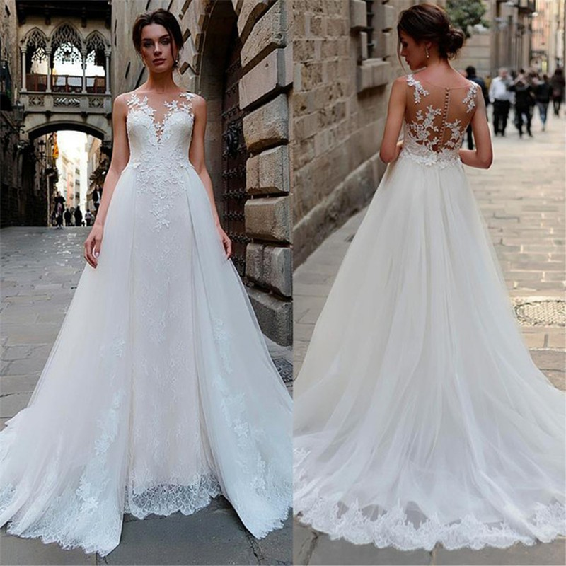 Eightale Princess Wedding Dress Lace 2019 Appliques O-Neck A-Line Train Bridal Gown Custom Made Vestido De Noiva 2019