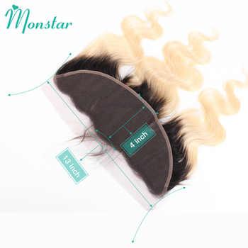 Monstar 1B 613 ダーク根オンブルブロンド 3/4 ペルー実体波バンドル前頭、 1B/613 レミー人間の髪のバンドル閉鎖