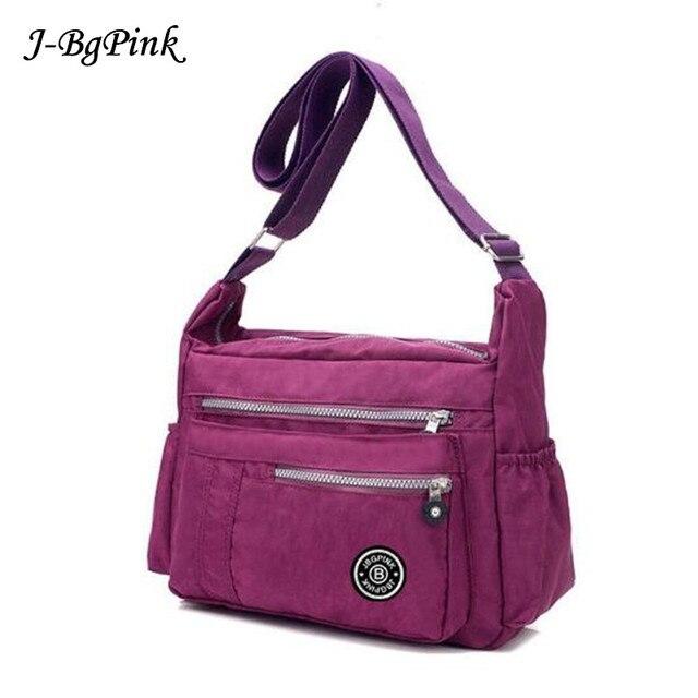 209e3e4197 J-BG PinK Women Famous Brand Big Nylon Shoulder Beach Bag Casual Tote  Female Crossbody