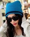 Doble Súper caliente Cozy Transpirable Moda de invierno mezcla De Lana señora sombrero tapa femenina de Alta calidad 8 color 1 unids marca nuevo llega