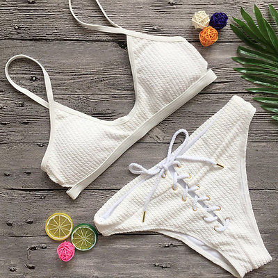 2017 New Womens Bikini Set Bandage Push up Padded White Swimwear Swimsuit BathingSuit Beachwear