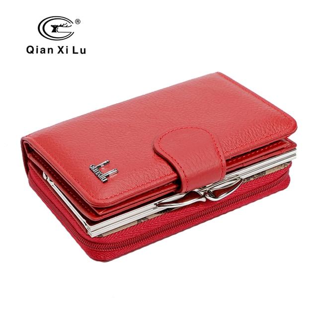 Qianxilu 2017 nouvelle marque femmes portefeuilles en cuir de vachette fermeture à glissière et moraillon porte-monnaie femme portefeuille cadeau de haute qualité