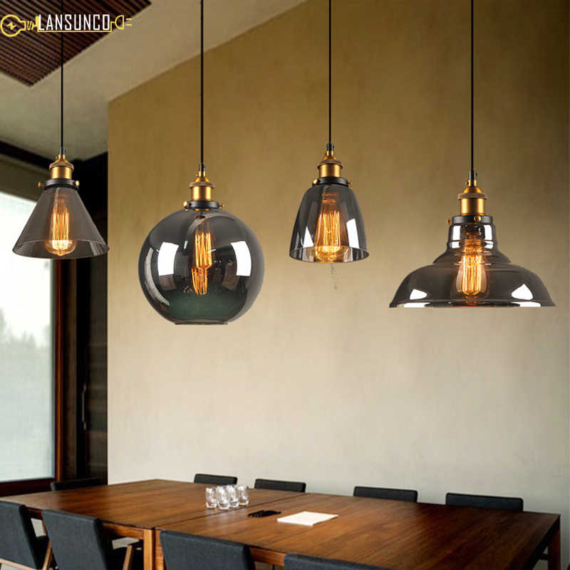 Vintage Pendant Lights Gl Lamp Decor Hanglamp Smoke Grey Restaurant Lighting Fixtures Luminaire Suspendu