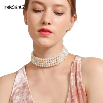 IngeSight.Z Bohemian Multi Layered Simulated Pearl Choker Necklace Collar Statement Boho Clavicle Chain Necklace Women Jewelry 2020 new highlight pearl pendant choker necklace for women luxury crystal multi layer clavicle chain statement party jewelry