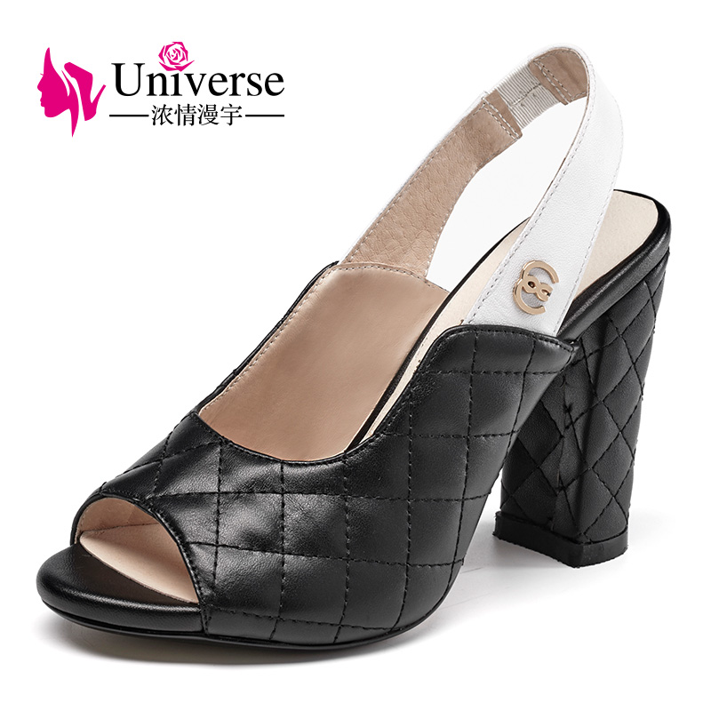 Universe high heel 2018 woman sandals genuine leather chunky heel shoes ladies fashion summer sandals G019 oem g019