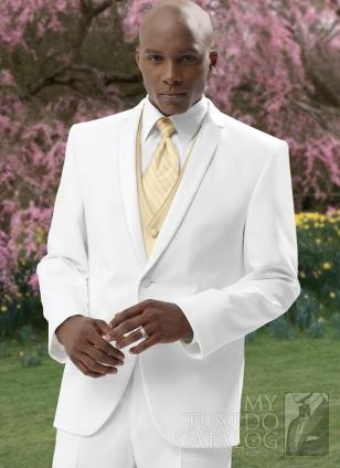 Custom Made Generous White And Gold Vest Tie Groom Tuxedos