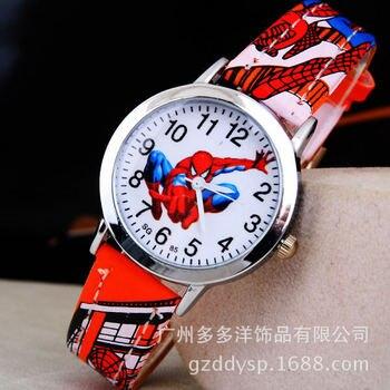 Часы с рисунком Человека-паука, детские наручные часы для мальчиков, детские подарочные кожаные Наручные часы, кварцевые часы с рисунком из мультфильма, кварцевые часы