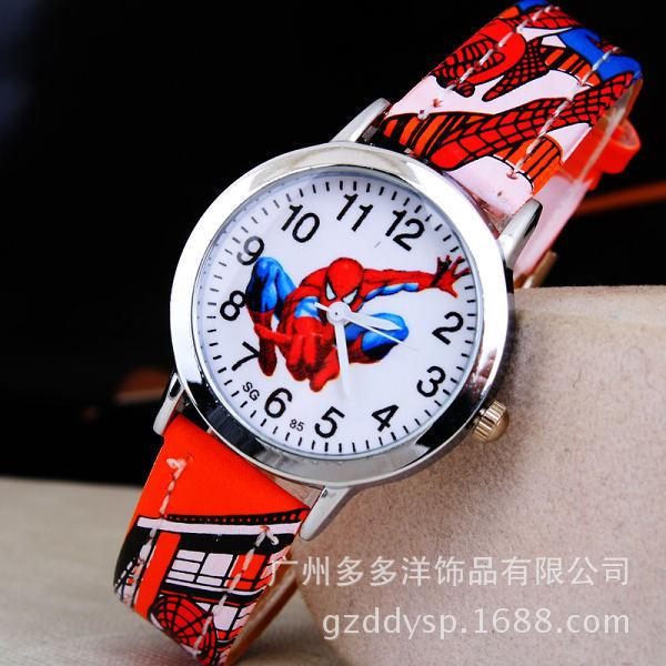 2018 Spider Cartoon Watch Children Kids Wristwatch Boys Clock Child Gift Leather Wrist Watch Quartz Cartoon-watch Quartz-watches
