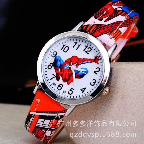 Spider Man Cartoon Watch Children Kids Wristwatch Boys Clock Child Gift Leather Wrist Watch Quartz Cartoon-watch Quartz-watches