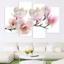 Wall Artwork Painting Modular Printed Modern Pictures 4 Panel Pale Pink Orchids Home Decoration Living Room Framework HD Canvas