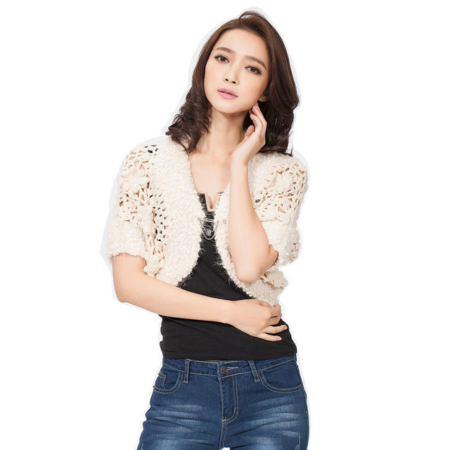 Hand Knitted Shrug Autumn Elegant Women Thick Knitwear Short Sleeve Hand Knitted Slim Woman Casual Clothes White Color Hot Sale