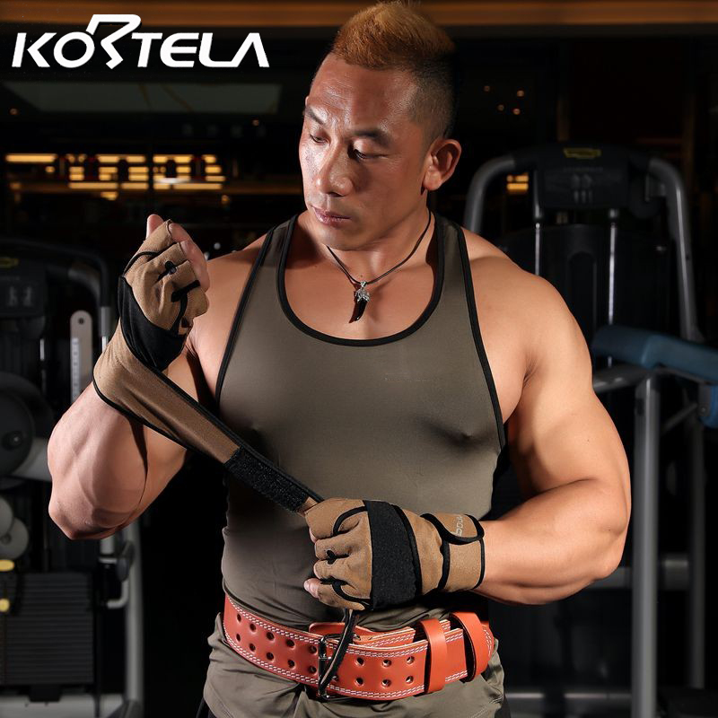 KORTELA Weight Lifting Gym Fitness Gloves Wrist Wrap Support Workout Grip Training Gloves Cross Fit Equipment Plus Size BOULDER