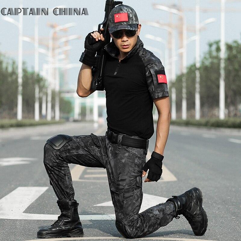 Uniforme militaire Camo vêtements costume armée Combat tactique uniforme soldat spécial Combat uniforme court t-shirt + pantalon