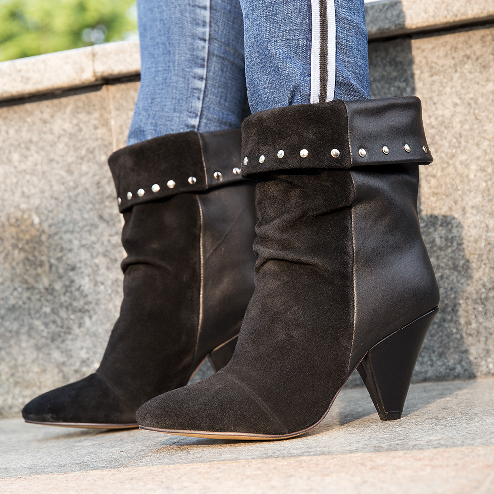 Bottes d'hiver en cuir véritable pour femmes printemps qualité daim à franges bottines de cowboy décontracté rivet chaussures de moto bottes punk-in Bottines from Chaussures    1