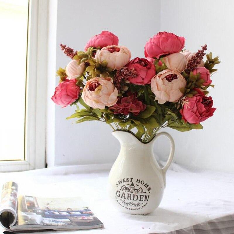 Романтические 13 головок/Букет бутон пиона прицветник моделирования шелковые цветы Пион декоративные цветы дома Аксессуары для свадьбы