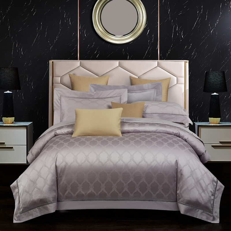 Luxury Bedding Set King Queen Size Bedingset 800TC Egyptian Cotton Bed Set Bedsheet Duvet Cover Pillowcases Silver Brown Color