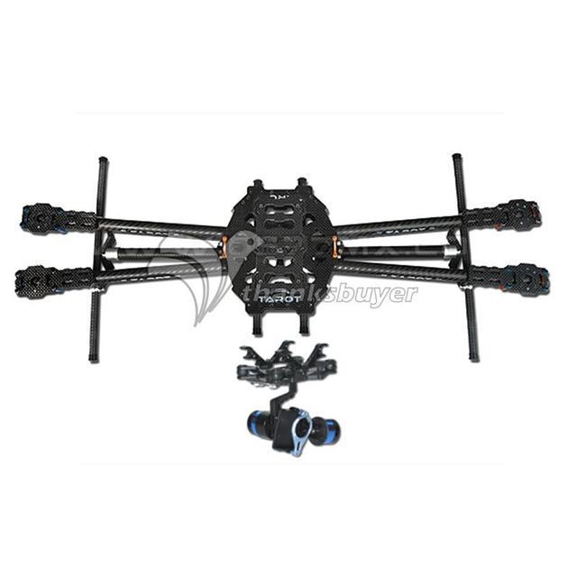 Tarot iron man 650 dobrável 3 k fibra de carbono quadcopter quadro + gopro 2-axis brushless cardan