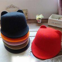 Invierno mujer chica lana Derby sombrero diablo lindo gatito gato orejas  Bowler Cap Venta caliente 3 3af9f7396d4