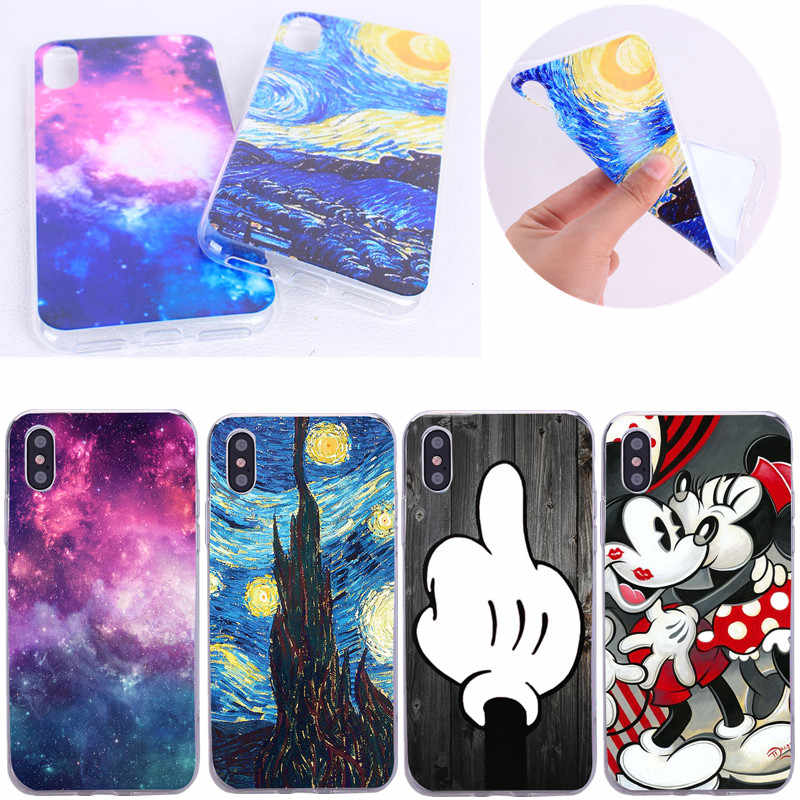 Soft Case Cover For iphone X Cover Capa Silicone Ultra Thin Sky Cartoon Painted Phone Shell Bags For ihpone 5 5s 5se 6 6s 4.7''
